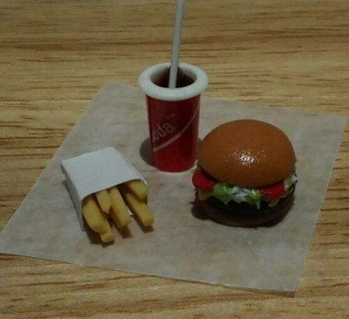 Dollhouse Miniature Cheeburger Fries /& Soda your favorite burger stop 1:12 scale