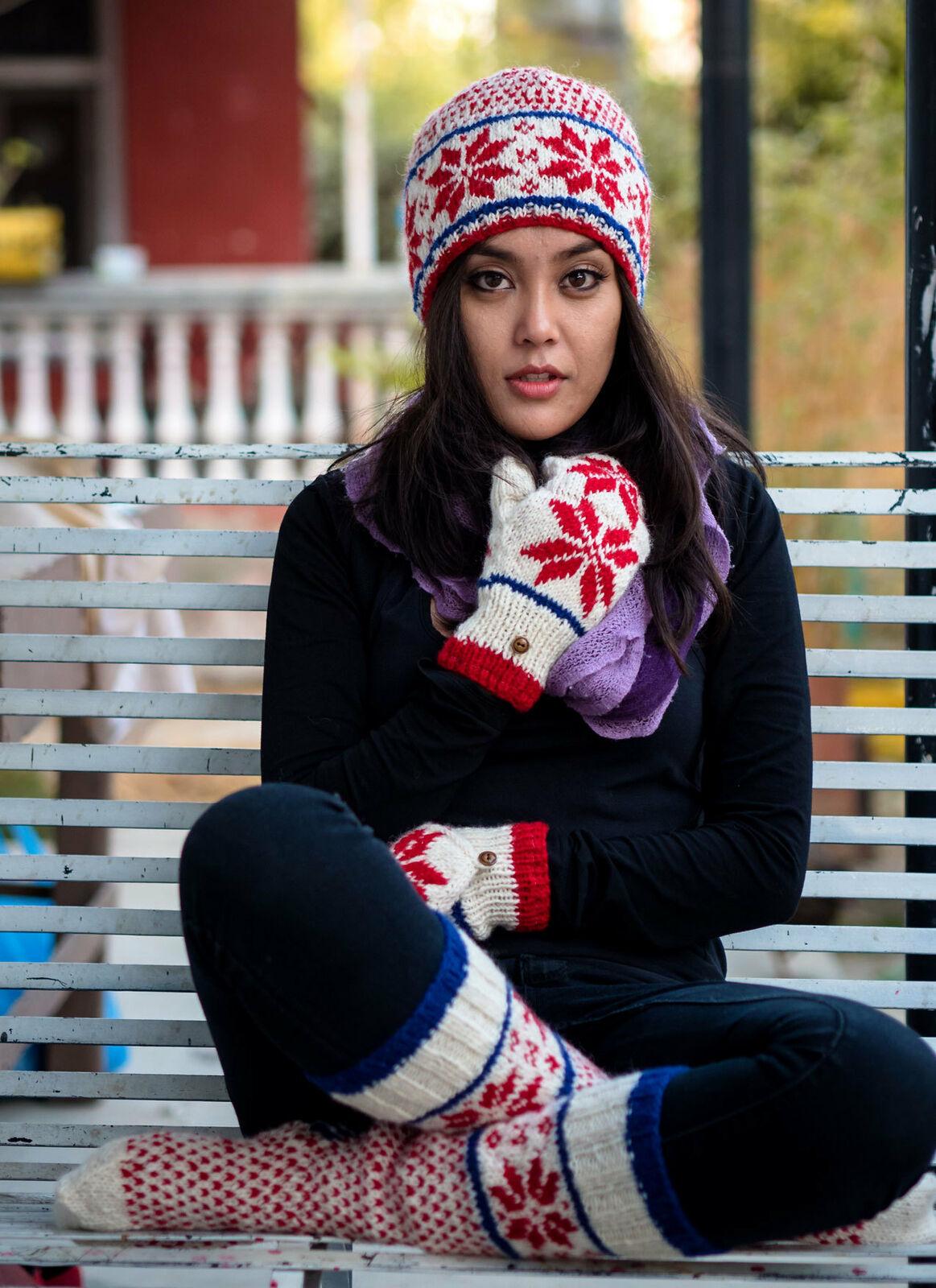 Red white Blue Combo Sale: Woolen Socks, Woolen Mittens and Woolen Cap