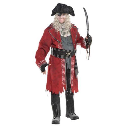 Mens Zombie Pirate Captain Ghost Carribbean Blackbeard Jack Fancy Dress Costume