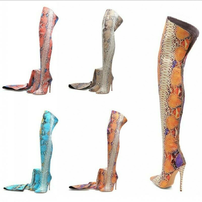 Thigh High Over the Knee stivali for donna scarpe Snakeskin Printed Pointed Toe Hot