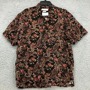 Urban Outfitters Shirt Large Mens sz Brown Red Paisley Button Front Short Sleeve