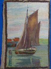 Ölbild auf Leinwand, Segelboot, unbek. Maler, etwa 1930