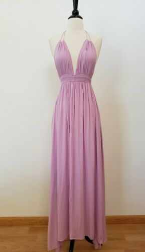Anthropologie Maxi Dress New Size Large Purple Lilac Halter Flowy Smocked