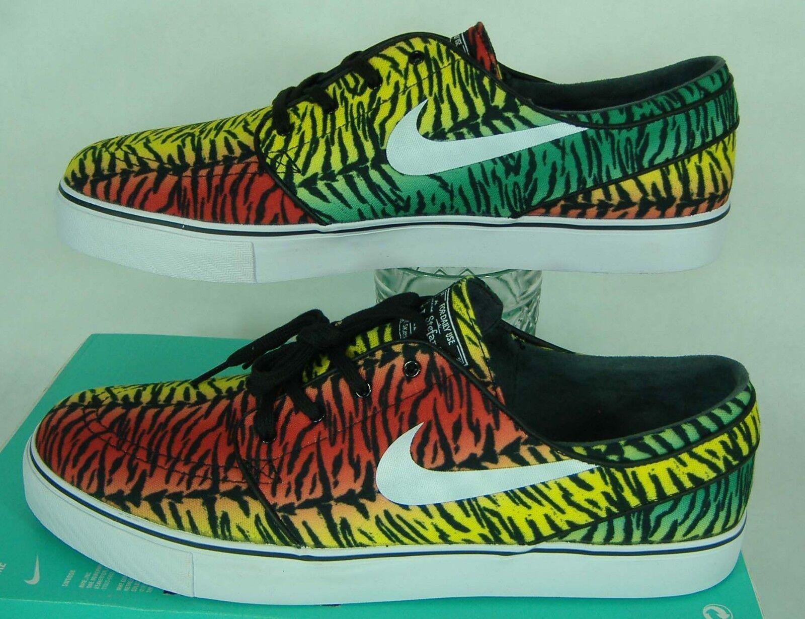 Mens 9.5 NIKE Zoom Stefan Janoski Canvas Rasta Zebra Skate Shoes 80 615957-613