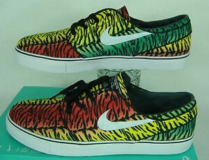 Mens 9.5 NIKE Zoom Stefan Janoski Canvas Rasta Zebra Skate Shoes  615957-613