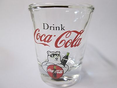 Coca-Cola Fishtail Logo on Clear Shot Glass