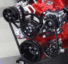 Sbc Serpentine Front Runner Pulley Drive Kit Blackchrome Ac Alternator Ps