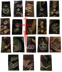 Pair-of-Official-Woodland-DPM-British-Military-Rank-Slides-All-Ranks-NSN