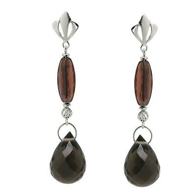 G-H, SI1-SI2 De Buman Sterling Silver Genuine Sapphire and Diamond Earrings