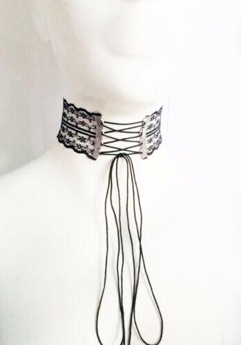 45mm wide chic retro punk tattoo collar bridal floral lace up choker necklace