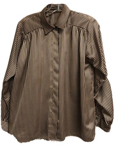 Louis Feraud Satin Long Sleeve Blouse  1980s vintage Dark Purple Crew Neck Loose Fit Back Zip Top  Large