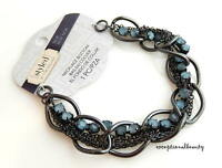 Necklace Bottom Gunmetal Blue Opal Rhinestone Focal Bead Component Tori Spelling