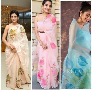 New Arrival Organza Silk Saree with Printed Floral Designer Sari Wedding Bridal Gift Occasional Wear Party Wedding Sari