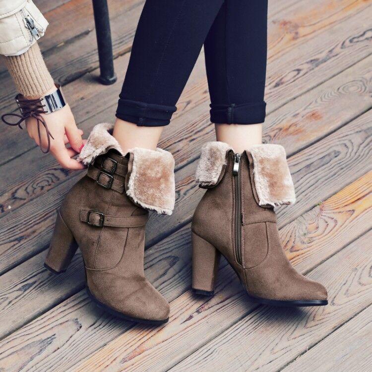 Winter Warm Fur Lining Ankle Boots Womens Block Heel Zipper Snoe Boots All US Sz