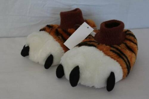 NEW Toddler Boys House Shoes Medium 7-8 Slip On Tiger Paws Slippers Non Skid