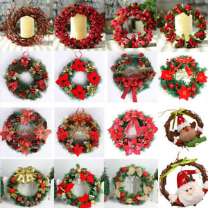Diy Merry Christmas Wreath Garland Window Door Decorations Bowknot