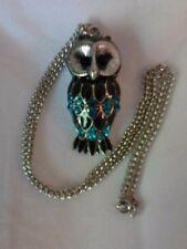 Fashion Owl Necklace w/Blue  Rhinestones & Blk Stone--Silver-Toned