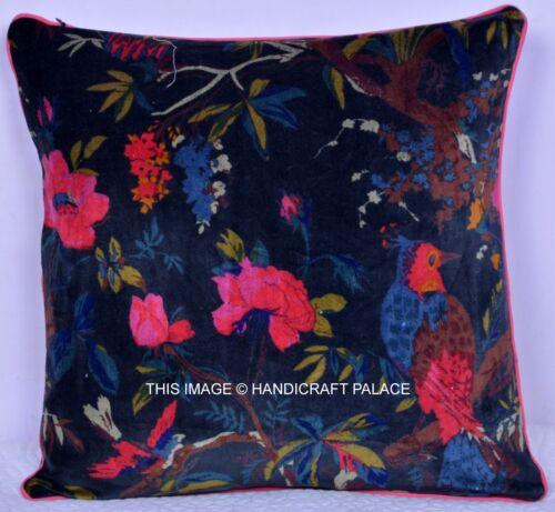 "INDIAN Floral 16/"" Velvet Black Pillow Cushion Cover Throw Sofa Toss Decorative"
