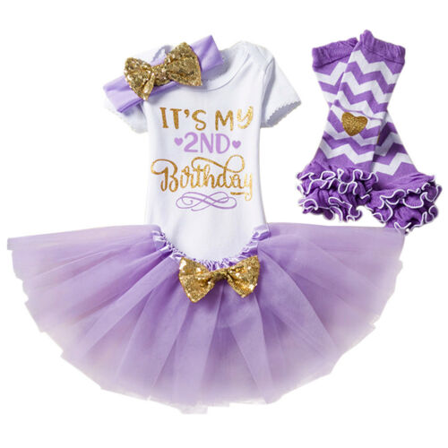 1//2 1st 2nd Birthday Cake Smash Clothes Romper Skirt 4pcs Outfits For Baby Girls