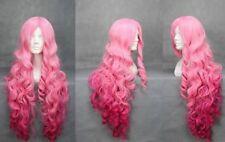 Wonderful Women Pink Wavy Bangs Synthesis Hair Full Wig Cosplay Long Wig