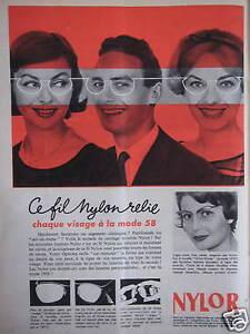 PUBLICITE-DE-PRESSE-1958-LUNETTES-NYLOR-CE-FIL-NYLON-ADVERTISING