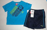 NEW PUMA 2PC SIZE 12 months 18 months BOYS GREY SET BLUE shorts set AUTHENTIC