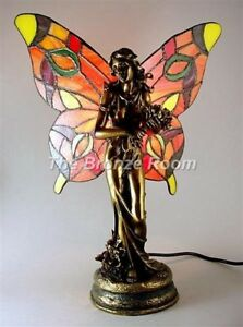 FLOWER LADY FAIRY WITH TIFFANY WINGS TABLE LAMP