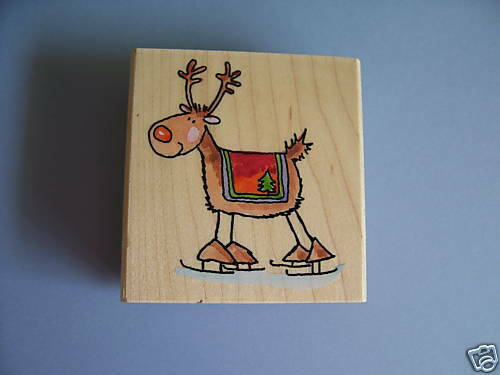 PENNY BLACK RUBBER STAMPS DEER IN SKATES CHRISTMAS NEW wood STAMP