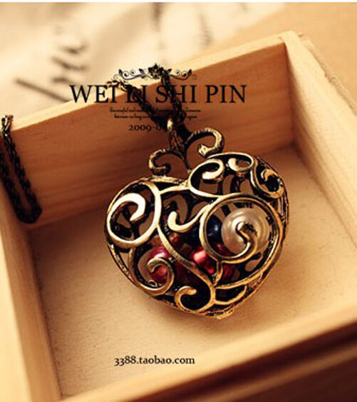 Fashion jewelry Hollow Heart vintage long Pendant sweater Chain Necklace N24