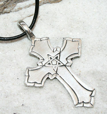 PENTAGRAM PAGAN Pewter Pendant Leather Necklace Surfer