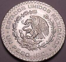 Huge Gem Unc Silver Mexico 1961 Peso~INDEPENDENCIA Y LIBERTAD~Fantastic~Free Shi