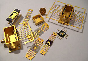 10x-Gold-Carriers-And-Flatpacks-for-Logic-Chips-CPU-IC-ceramic-gold-rare