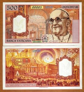 Vatican-500-Lire-2019-Private-Issue-Kamberra-UNC-gt-Pope-Francis