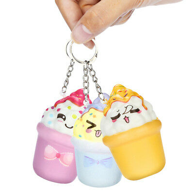Cute Squeeze Squishy Faux Chest Pendant Key Chain Pendant Reduce Stress Hand Toy