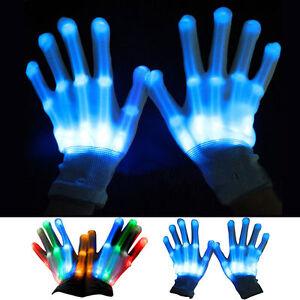 Electro Skeleton BLUE GREEN ORANGE LED Light Up HALLOWEEN Dance Party Gloves