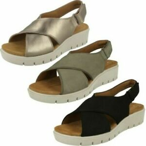 Details about Ladies Clarks Unstructured Wedge Slingback Sandals 'Un Karely Sun'