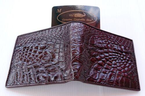 Véritable ventre crocodile alligator cuir peau homme deux volets marron foncé portefeuille