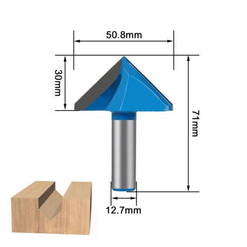"90 Degree Carbide V Type Grooving Router Bit Milling Cutter Wood 1//2/"" 1//4/"" Shank"