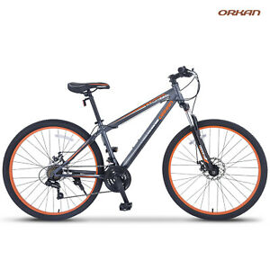 27-5-034-Shimano-Men-039-s-Mountain-Bike-Hybrid-21-Speed-Bicycle-Sports-Grey-amp-Orange