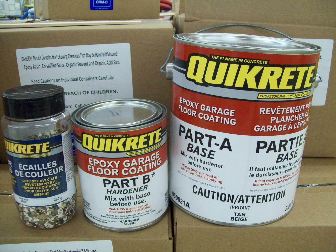 Quikrete Epoxy Garage Floor Coating Kit TAN  w TAN Quikrete color Flakes
