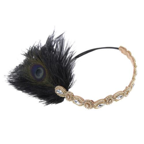 Retro 20er Flapper Pfau Feder Stirnband elastischer Strass Band Kopfschmuck