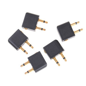 5Pcs-3-5mm-pro-airline-airplane-golden-plated-headphone-jack-plug-adapter-JH