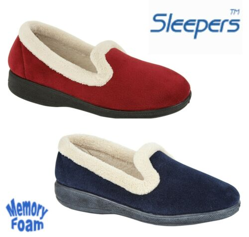 Womens Memory Foam Slippers Navy Blue Slip On Sleepers Sizes 3 4 5 6 7 8