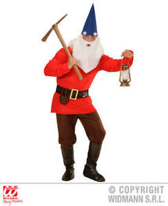 ee08dbb08a0 Details about Mens Male Adult Red Garden Gnome Fancy Dress Costume Dwarf  Outfit Adult