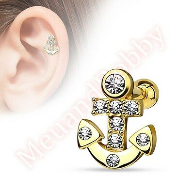 16G CZ Anchor Cartilage Tragus Bar Ear Ring Piercing Stud Body Jewellery