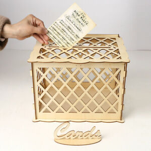 Card Box Wedding.Details About Diy Wooden Wedding Card Post Box With Lock Collection Gift Card Boxes Weddings