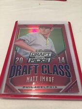 2014 Panini Prizm Draft Class Red Prizm Matt Imhof Phillies serial #'d 100
