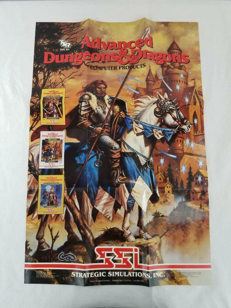 AD&D LARGE FOLD OUT POSTER NM  1989 CLYDE CALDWELL CALDWELL CALDWELL ART TSR SSI GAME PRODUCTS 023229