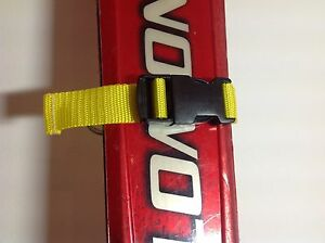 2x-Yellow-Ski-Tie-Straps-Quick-Release-Buckle-25mm-Webbing