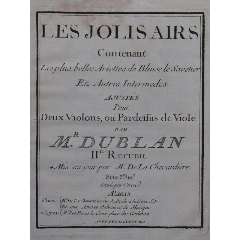 DUBLAN Les Jolis Airs 6 Duetti Ariettes 2 Violes ou Violons ca1760 partition she